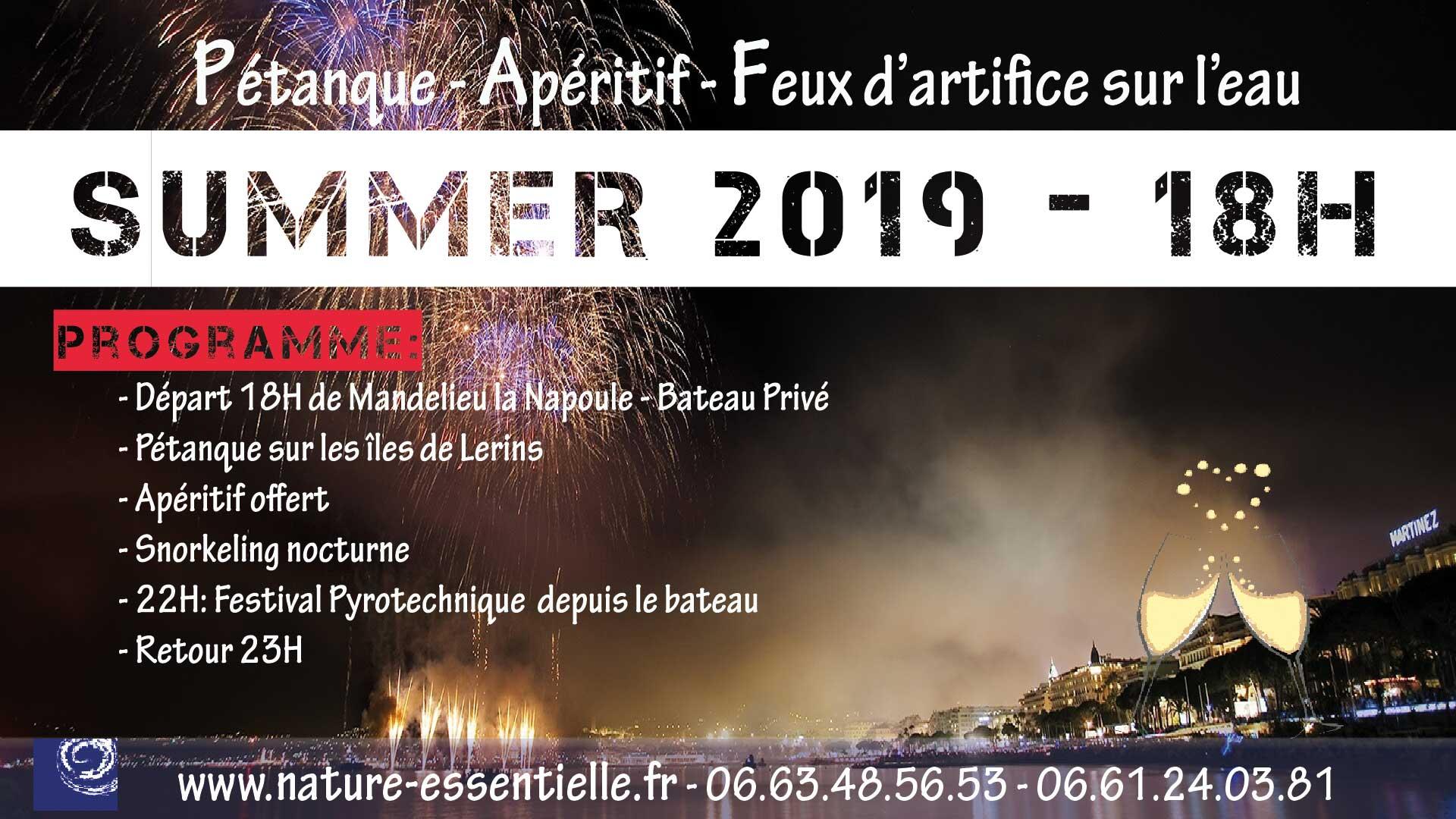 Soirée Festival Pyrotechnique Cannes - depuis la Mer